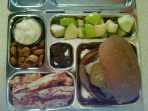 Cheeseburger, Diced Organic Apple and More