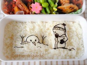 Calvin and Hobbes Snowman Bento